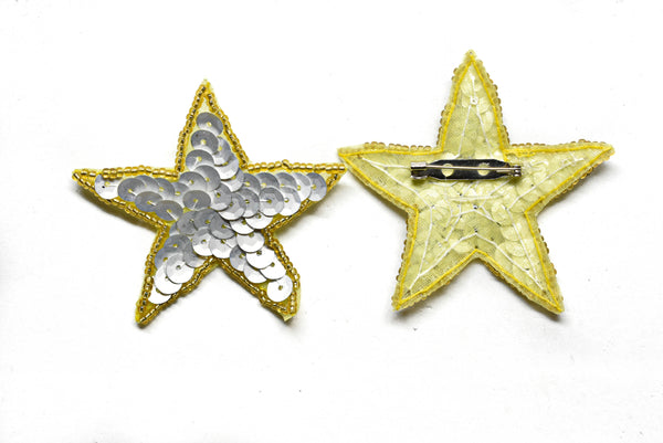 "2 1/2"" Sequins Beaded Star Patch with Pin"