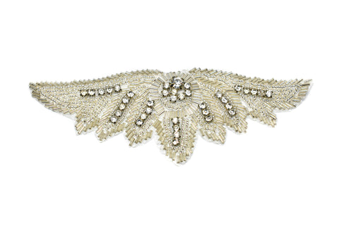 "6.75"" x 2.5"" Angelic Wings Design Beaded Rhinestone Applique Iron On"
