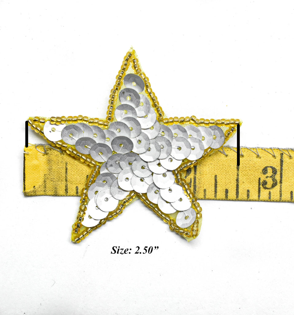 "Sequins Beaded Star Patch with Pin 2.50"" - 1 Piece"