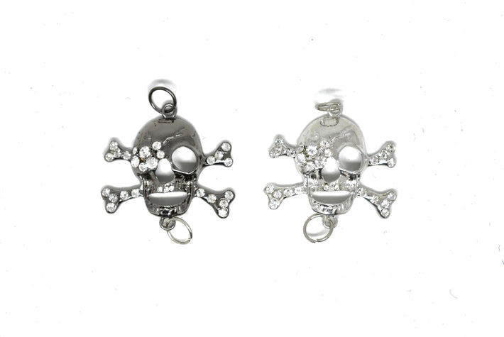 "Rhinestone Pirate Skull Connector Charm 2.75"" - 1 Piece"