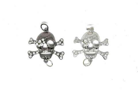 "2 3/4"" Rhinestone Pirate Skull Connector Charm"