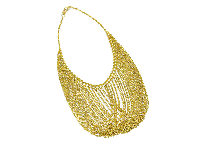 Gold Necklace with Dangling Chains