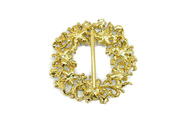 "Gold Floral Wreath Ribbon Slider 3"" x 3""- 1 Piece"