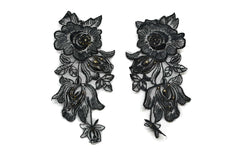 Black Floral Organza Applique (Pair)