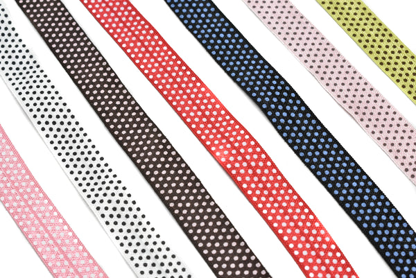 "5/8"" Assorted Small Polka Dot Elastic"
