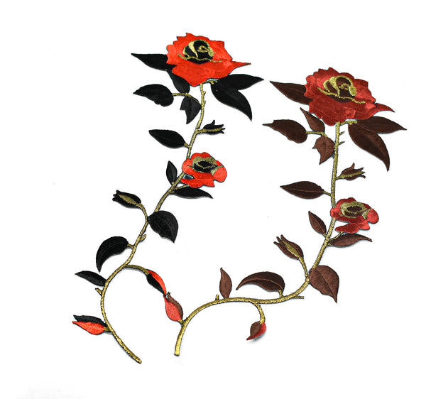 "11"" x 4 1/2"" Red Rose and Black Leaves Iron-on Applique"