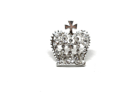 "1 1/4 "" x 1 1/2"" Crown Rhinestone Brooch- Design 3"