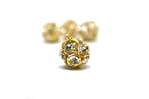 "1/4"" Gold Rhinestone Button Pair (2 Pieces)"