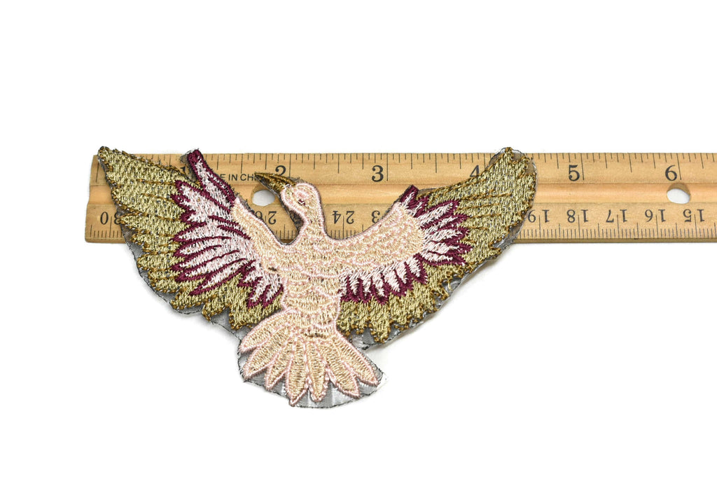 Embroidered Pink and Gold Bird Iron-On Patch