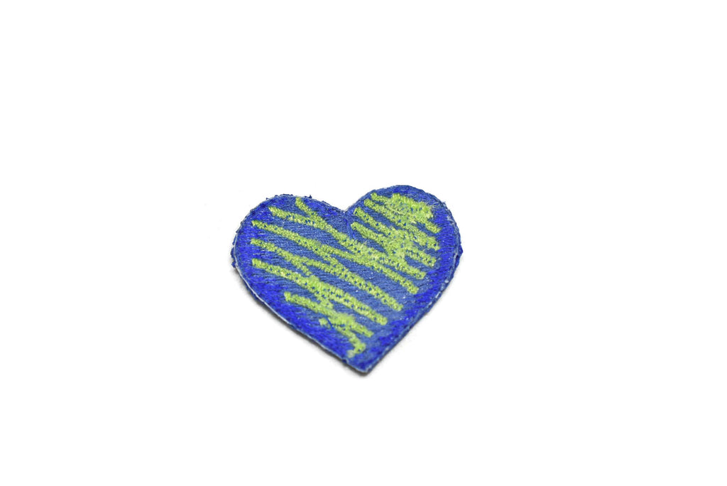Electric Blue Heart Iron-On Patch