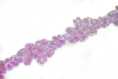 "1 1/2"" Pink Floral Sequins Beaded Trim"