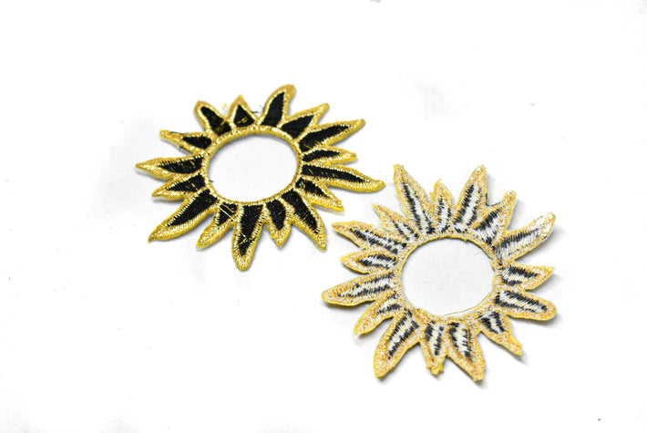 "Gold Embroidered Black Sun Applique 2.75"" - 1 Piece"