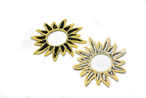 "2 3/4"" Gold Embroidered Black Sun Applique"