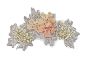 Floral Beaded Organza Applique