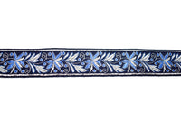 "1 1/4"" Blue Floral Jacquard Ribbon"
