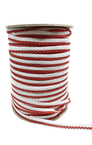 "White and Red Edge Elastic 1/8"" - Full Roll"