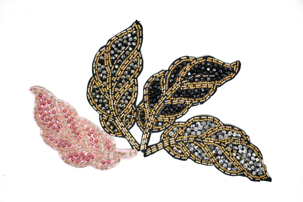 "4.5"" x 2"" Leaf Rhinestone Beaded Applique"