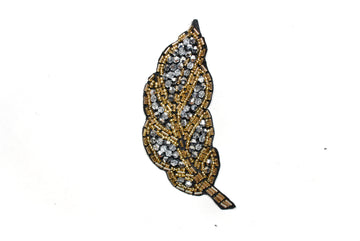 "Leaf Rhinestone and Beaded Applique 4.50"" x 2"" - 1 Piece"
