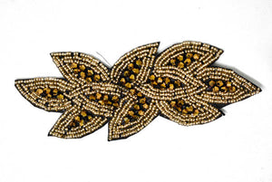 "6"" x 2"" Leaf Rhinestone Beaded Applique--Design 2"