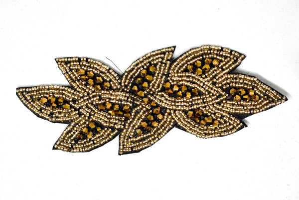 "6"" x 2"" Leaf Rhinestone Beaded Applique"