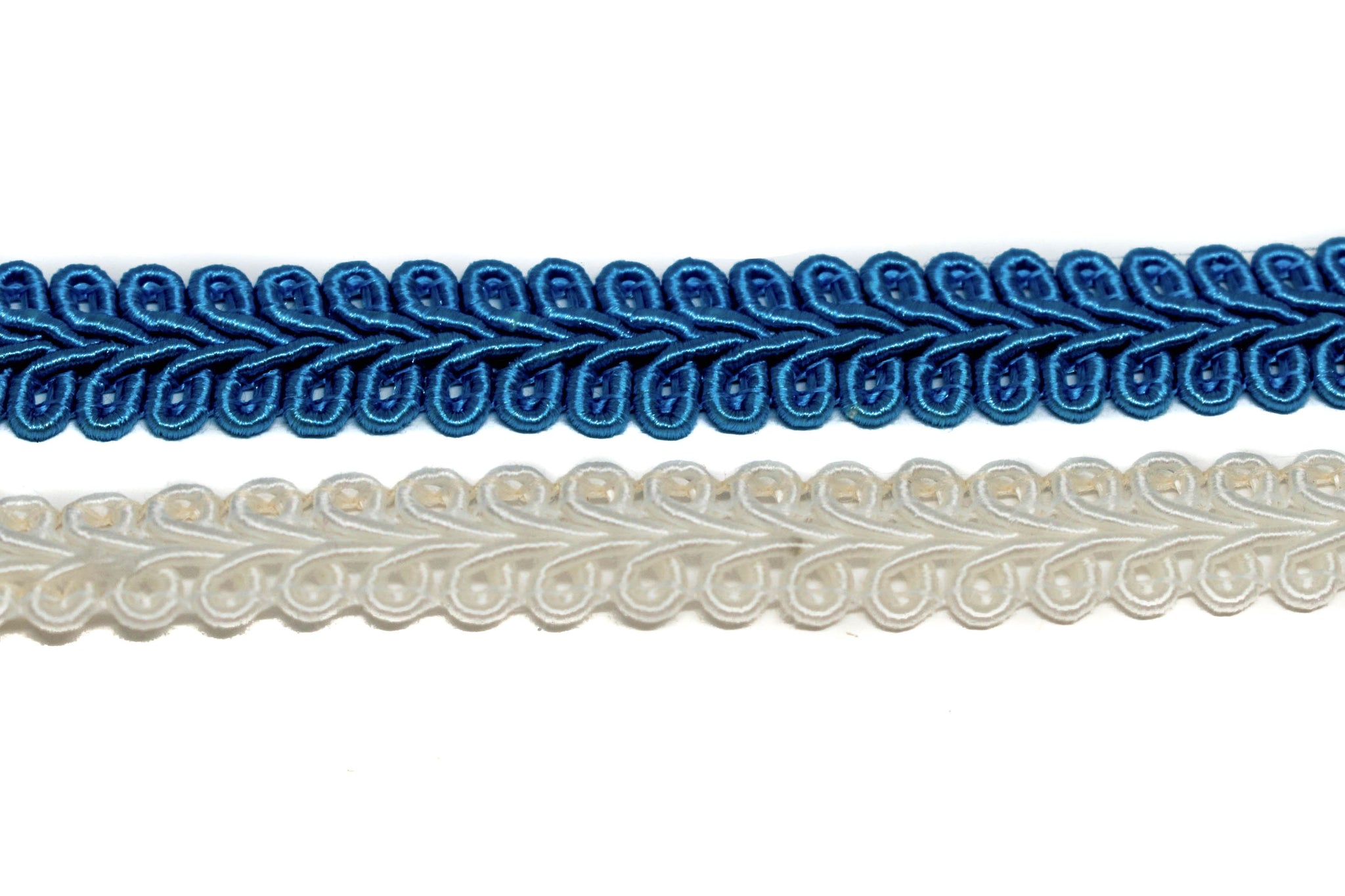 "Ocean Blue OR Pearl White Gimp Trim 5/8"" - 1 Yard"
