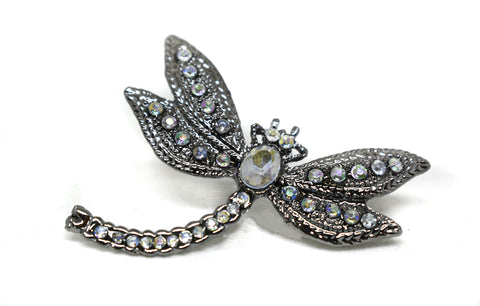 "2"" Dragonfly Rhinestone Brooch (Two-Pieces)"