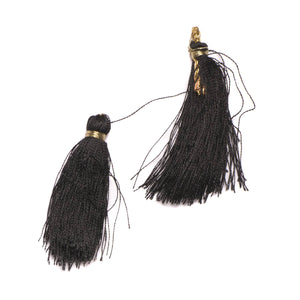 Black with Gold Accent Tiered Tassel Design #7