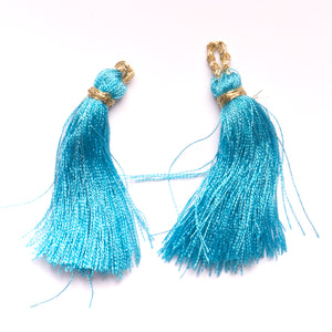 Metallic Blue Tiered Tassel- Design #10