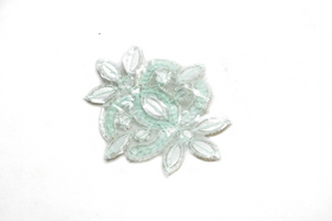 "Mint Green and Gold Floral Iron-on Applique with Rhinestone 4"" x 3""  - 1 Piece"