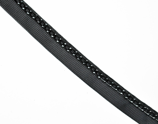 "Black Grosgrain Ribbon with Black Chain 5/8"" - 1 Yard"
