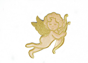 "Embroidered Cupid Iron-On Applique 3.5"" x 5.25"" - Piece"