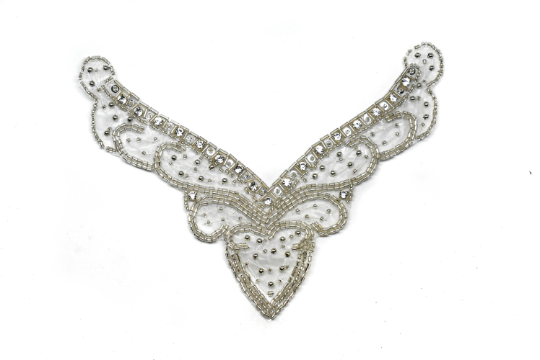"V-Shape Rhinestone Iron-on Applique 7.25"" x 5.5"" - 1 Piece"