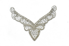 V-Shape Rhinestone Iron-on Applique 7.25