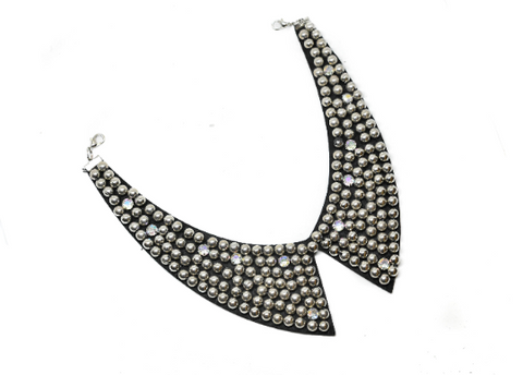 "9.5"" Metallic Silver Beaded Necklace Applique with Rhinestones"