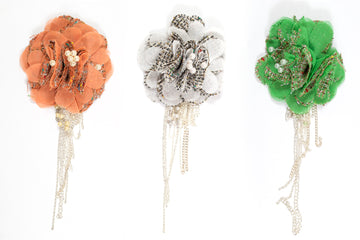 Organza Floral Piece with Dangling Chain - Target Trim
