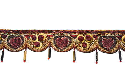 Hand-crafted Indian Trim Embellished with Bugle bead with Rose Pattern Adornment - Target Trim
