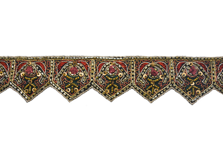 Beautiful Pentagon Shape Beaded Handmade Indian Trim - Target Trim
