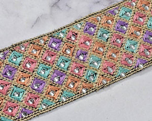Beautiful Multi-Color Embroidered Trim | Multi-Color Trim by the Yard | High-Quality Multi-Color Trim | Beaded Multi Color Trim