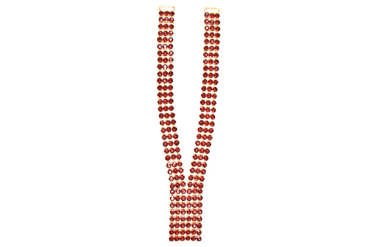 Fancy Red Gem Stone Neck Piece Applique - Target Trim