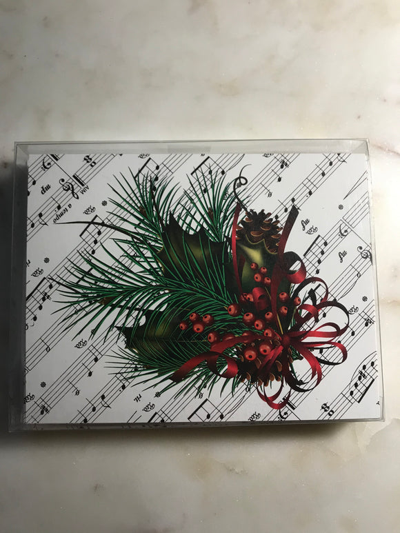 Pine Sheet Music Holiday Cards