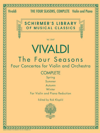 Vivaldi The Four Seasons: Four Concertos for Violin & Orchestra, Complete (Violin & Piano Reduction)