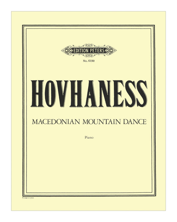Hovhaness Macedonian Mountain Dance Op. 144 (Solo Piano)