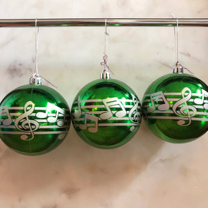 Music Staff Ornament (Set of 3) (Green)