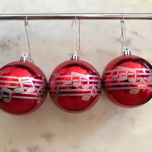 Music Staff Ornament (Set of 3) (Red)
