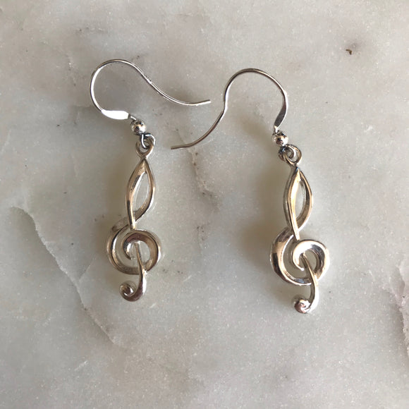 Treble Clef Earrings (Sterling Silver)