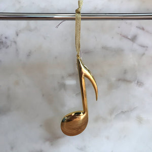 Eighth Note Ornament (Gold)