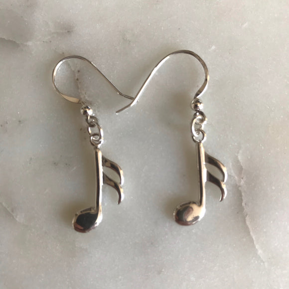 Sixteenth Note Earrings (Sterling Silver)