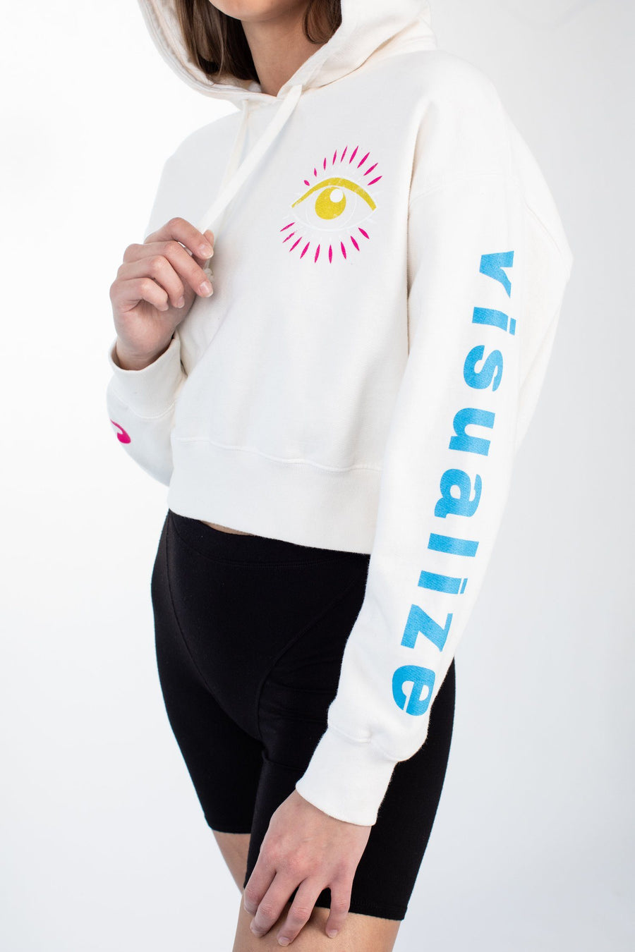 CROP HOODIE - CAN YOU VISUALIZE - WHISPER WHITE