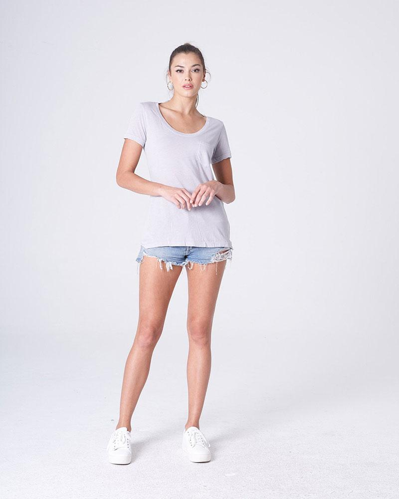 Silver Isabella Pocket U Neck Tee