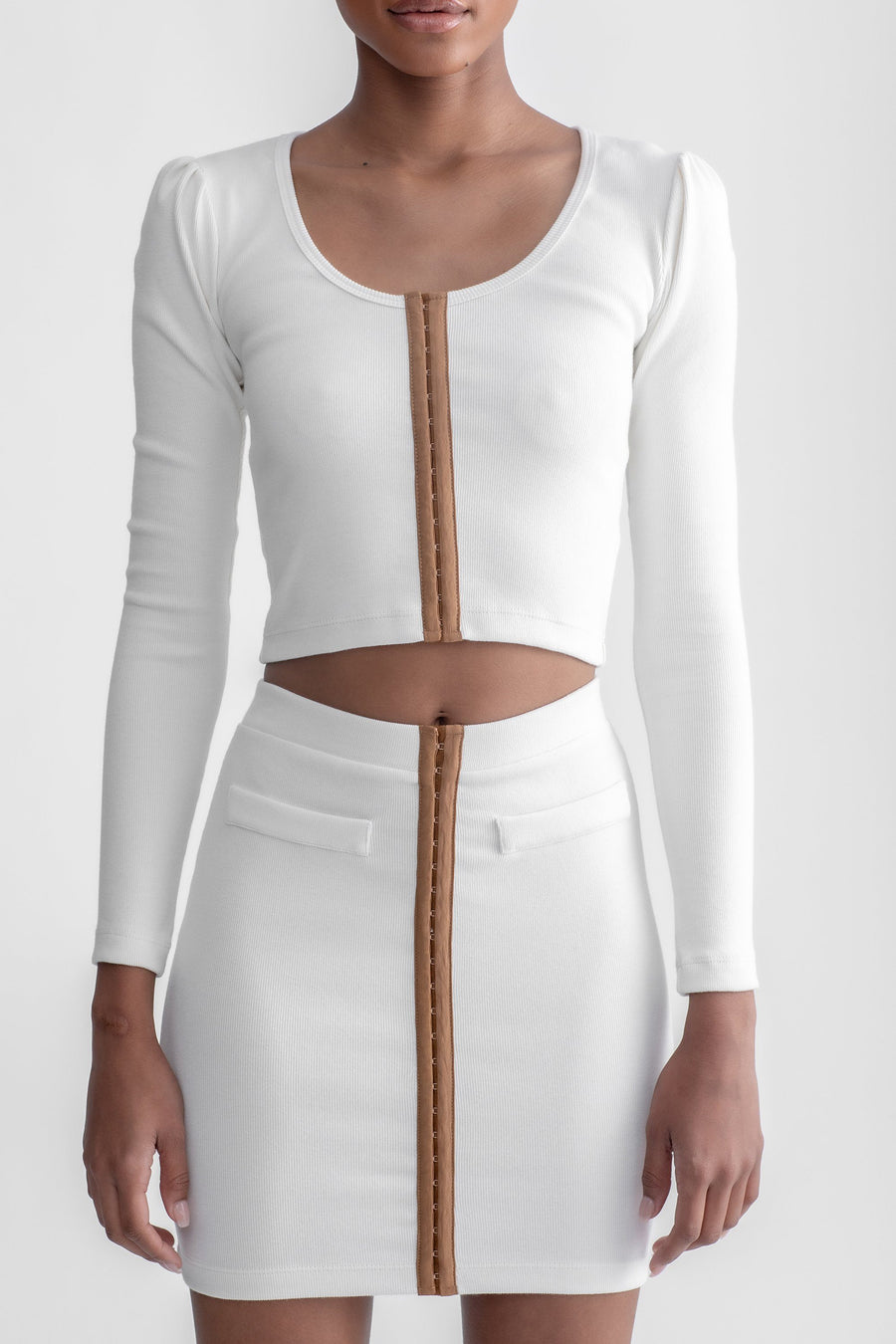Hook & Eye Long Sleeve Top White